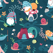 Happy Playful Little Garden Gnomes In A Colorful Flower Field On A Dark Blue Background. Seamless Surface Repeat Vector Pattern.