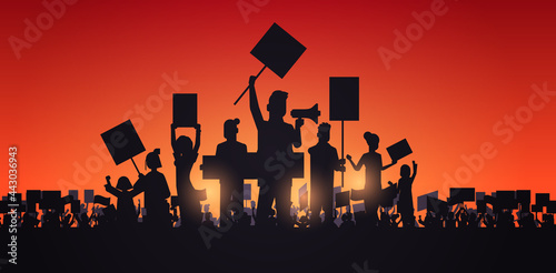 silhouette of people crowd protesters holding protest posters men women with bla Fototapet