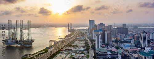A panorama shot of cityscape of Lagos Island, Nigeria at sunset