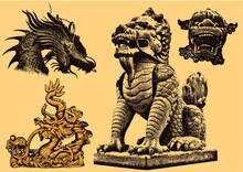 Chinese Thai Dragon Statues Vector Illustrations In Woodcut Style