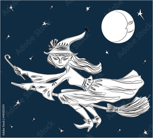 Vector drawing of young witch flying on  broomstick on Halloween night Fototapet