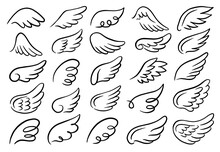 Vector Set Of Wings. Bird Feather Wings, Angel Wings, Black Tattoo Silhouette. Hand-drawn, Doodle Elements Isolated On White Background.