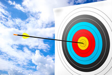 The Arrow Hits The Target. Business Success Concept On A Cloud Background. 3d Rendering