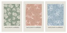 Set Of 3 Contemporary Botanical Posters Inspired By Morris. Flowers, Leaves In The Illustration.