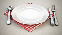 Serving Plate, Spoon, Fork, Knife And Napkin Standing On Tablecloth. 3D Illustration