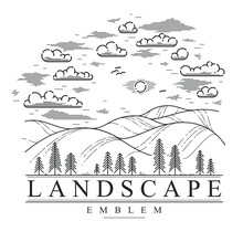Beautiful Scenic Grasslands And Pine Trees Vector Linear Emblem Isolated On White, Outdoor Hiking Camping Ant Travel Active Lifestyle Logo, Line Art Drawing Rural Nature Badge.