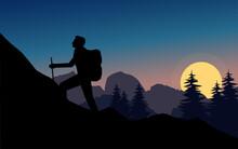 Silhouette Traveler Hiking Sunset