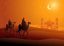 Two Arab Men Riding Camels Desert Night Landscape Ramadan Islamic Theme