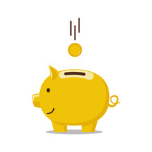 Piggy Bank Is Golden In Color With A Coin Falling Into It. Color Vector Illustration Of A Flat Style. White Isolated Background.