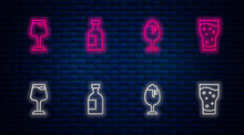 Set Line Glass Bottle Of Vodka, Beer, Wine Glass And . Glowing Neon Icon On Brick Wall. Vector