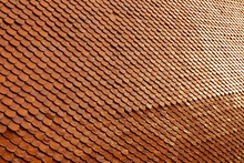 Clay Tile Roof Texture Background In Thai Temple