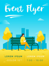 Woman Sitting Bench Reading Book Flyer Template_2