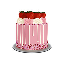 Vector Illustration Of A Pink Cake With Cream And Strawberries.