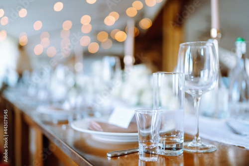 Beautiful table setting for a party, wedding reception or other festive event Poster Mural XXL