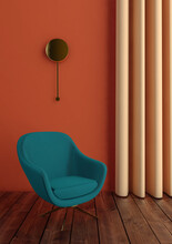 Green Armchair In Interior On Orange Wall And Curtain