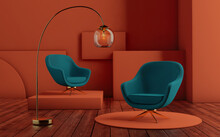 Interior With Art Deco Armchairs. Green Armchairs And Lamp On Orange Background
