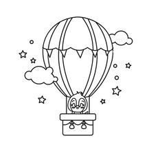 Coloring Page Antistress. Cute Baby Penguin Flying In A Hot Air Balloon  Isolated On A White Background. Vector Illustration For Art Therapy, Antistress Coloring Book For Adults And Children.