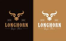 Longhorn Bull Buffalo Cow With Vintage Retro Western Concept Logo Design.