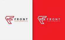 Red Letter F Monogram Logo Design With Sharp Geometric Lines Style Concept.