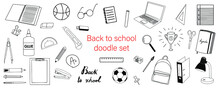 Big Doodle Vector Hand Drawn Set Of School Stationery. Back To School, Office Supplies, Equipment, Education. Isolated Elements To Create Your Own Design, Pattern, Stickers, Typography, Digital.