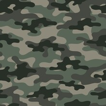 Green Digital Camouflage Seamless Pattern. Military Texture. Abstract Army Or Hunting Masking Ornament. Classic Background. Vector Design Illustration.