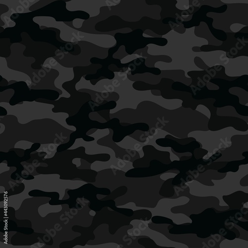 Fotografiet Black military camouflage print seamless vector pattern