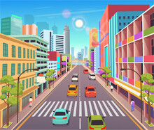 Сity Building Houses With Shops.Vector Illustration In Cartoon Style.Urban Skyscraper Buildings View Modern Cityscape.Perspective Road  With Zebra Crossing.