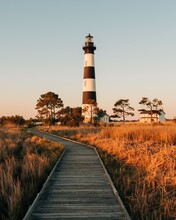 Bodie Island Lighthouse And Marsh Boardwalk Trail, In The Outer Banks, North Carolina