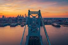 The Benjamin Franklin Bridge Over The Delaware River And View Of The Skyline In Philadelphia, Pennsylvania