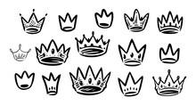 Crown Icons Set. Royal, Premium Symbol. Vector Illustration