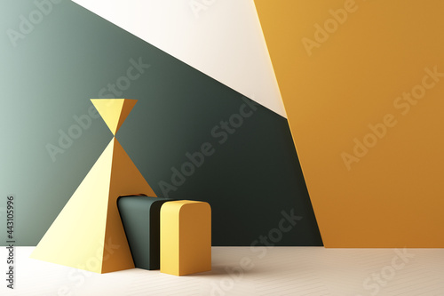 Murais de parede Minimal abstract geometric background with direct sunlight in shades of green and yellow