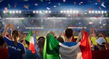 Italy Football Team Supporter On Stadium.
