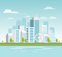 Vector Illustration Of Modern Urban Cityscape With White Skyscrapers, Eco City With Big Modern Buildings For Your Design, Banners. City In Flat Cartoon Style