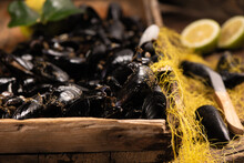 Raw Fresh Mussels From Ganzirri Messina On Counter At Local Fish Market.