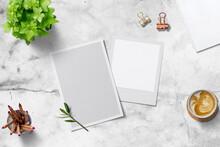 Background Fond Blanc Marbre Moderne Photo Mock Up Scene  Vue De Dessus