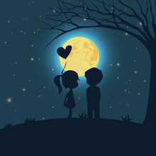 Romantic Couple Under Moonlight Silhouette In The Night Cartoon Vector Illustration
