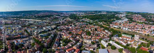 Fotografie, Obraz Aerial view of the city Stuttgart, Bad Cannstatt and the old town on a sunny da