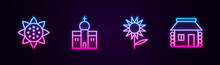 Set Line Sunflower, Church Building, And Ukrainian House. Glowing Neon Icon. Vector
