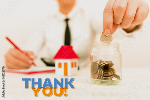 Wallpaper Mural Text caption presenting Thank You