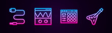 Set Line Audio Jack, Oscilloscope, Drum Machine And Electric Bass Guitar. Glowing Neon Icon. Vector