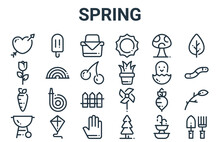 Linear Pack Of Spring Line Icons. Simple Web Vector Icons Set Such As Gardening Tools, Barbecue Grill, Hatch, Mushroom, Picnic Basket. Vector Illustration.