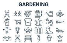 Linear Pack Of Gardening Line Icons. Linear Vector Icons Set Such As Plant Pot, Sprout, Gloves, Watering Can, Hose. Vector Illustration.