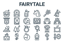 Linear Pack Of Fairytale Line Icons. Linear Vector Icons Set Such As Sword, Castle, Frog Prince, Magic Wand, Magic Potion. Vector Illustration.