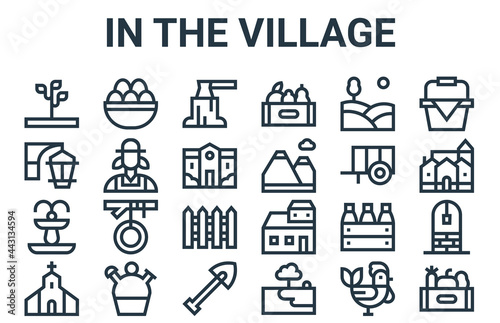 Obraz na plátně linear pack of in the village line icons