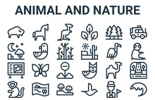 Linear Pack Of Animal And Nature Line Icons. Simple Web Vector Icons Set Such As Pangolin, Monkey, Vulture, Pine, Kangaroo. Vector Illustration.