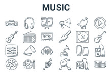 Linear Pack Of Music Line Icons. Simple Web Vector Icons Set Such As Piano, Film Reel, Compact Disc, Bell, Conga. Vector Illustration.