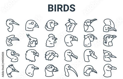 Fotografia linear pack of birds line icons
