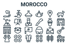 Linear Pack Of Morocco Line Icons. Simple Web Vector Icons Set Such As Volubilis, Dress, Pottery, Morocco, Tagine. Vector Illustration.