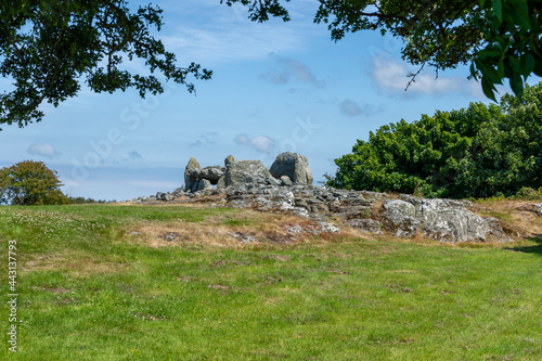 Canvas Print Trefignath burial chamber - Wales. TDK are written in 'English'