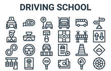 Linear Pack Of Driving School Line Icons. Linear Vector Icons Set Such As Wheel, Pedals, Road Barrier, Bus, Parking. Vector Illustration.